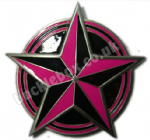NAUTICAL STAR PINK/BLACK Belt Buckle + display stand